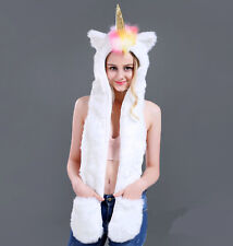 Unicorn Faux Fur Animal Ears Hat Gloves Mittens Long Scarf Snood Hood Paws