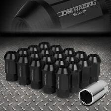 JDM OPEN-END ALUMINUM BLACK WHEEL LUG NUTS SET+ADAPTER M12X1.5 25MMx44MM TALL