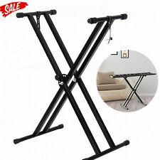 More details for electronic piano double stand music keyboard standard rack adjustables metal