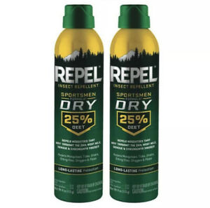 2 Repel Sportsmen DRY 25% Deet 4oz Insect Repellent Bug Spray Mosquito Tick Fly