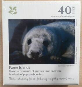 WENTWORTH WOODEN JIGSAW 40 PIECES - FARNE ISLANDS (GREY SEAL PUP) *NEW & SEALED*