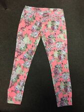 Euc Red Camel Fluorescent Floral Skinny Jeans Size 7