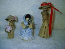 3 Vintage Corn Husk Straw Peg Dolls
