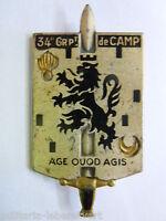 Insigne 34° GROUPEMENT  DE CAMP ARMEE FRANCAISE  ORIGINAL 1