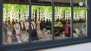 Narrow Pale Yellow Wisteria Border Window Cling for Shop Window Spring Display