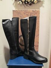 BUSSOLA STYLE GIA BLACK LEATHER RIDING BOOTS WOMENS SHOES SZ 35 - 5-5.5 US NEW
