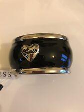 BNWT Black enamel & Silver Guess hinge Bangle rhinestone Heart, box & bag