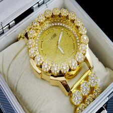 Men's Diamond maxx Real Diamond Joe Rodeo Yellow Tone Clear Cluster Bezel  Watch