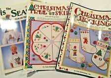 Crafts Pattern Books LOT_Christmas Stockings Tree Skirts_Transfer + Coloring_VGC