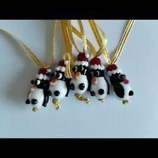 Cute Handmade Lampwork Penguin Christmas Hat Tree Decoration on Gold Ribbon