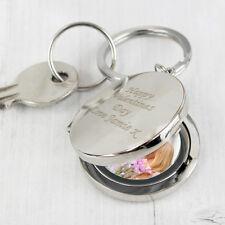 Personalised Round Photo Keyring Engraved Gifts for Men Women Mum Dad