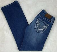 Big Star Remy Low Rise Bootcut Jeans Distressed Medium Wash Hemmed Size 26x32