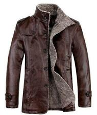 Men Jacket Trench Faux Leather Coat Chic Fur Lined Parka Winter Fleece Size warm