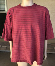 Vintage 90s Basic Editions Striped Rib Pattern T Shirt Size 3XL USA Made Red