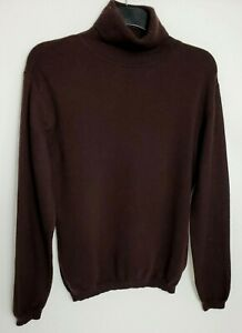 WOOLOVERS WOMENS JUMPER L CHOCOLATE BROWN HIGH NECK MERINO WOOL & CASHMERE 407