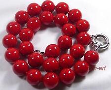 Cadeaux de Noël, 12mm, femme, rouge corail,collier, 43 cm