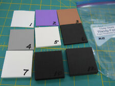 """EVA sheet sample pack with 2""""x2"""" pcs in 1,2,3,4,5,6,7,10,12mm thickness."""