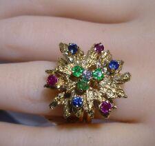 Ruby Emerald Bombe Ring Sapphire 14k Y/ Gold Flower Diamond C/W Appraisal Estate