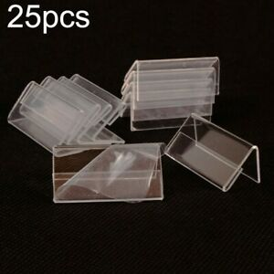25*Mini Acrylic Sign Display Holder Price Name Card Tag Label Stands 4*2cm Set K