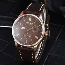 42mm Parnis Sea gull Power Reverse Brown Dial Automatic Movement Mens Wristwatch
