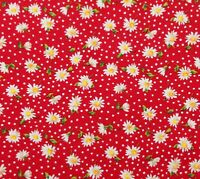 Red White Daisy Cotton Quilting Fabric Rose & Hubble David Textiles