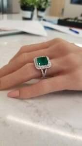 Fine Green Columbian Emerald Cut 5.34CT Emerald & 2.30CT Round CZ Gorgeous Ring