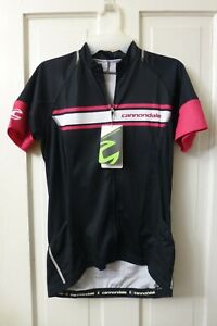 MEDIUM Women's CANNONDALE Black White Pink FULL-ZIP Cycling Jersey Pouches
