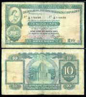 HONG KONG 10 DOLLARS 31-3-1980 P 182 CIRCULATED
