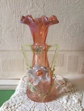 Antique Victorian Glass Vase Bohemian Applied Flower Thorn Handles