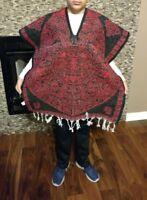 Mexican Poncho , Calendario azteca ,Blanket Serape Gaban , Kids, (6 - 12)  RED