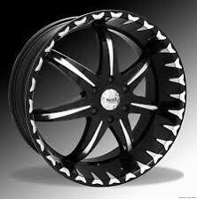 "24"" Noir Blackstar Black Machined Wheel 5x139.7 +18 Dodge Ram Truck Rim Jeep"