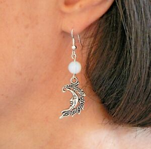 Moonstone and Moon Gemstone Earrings Silver-plated Fishhooks Pagan Solstice Gift