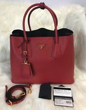 New PRADA  Saffiano Cuir Double Bag - Red  $2,980.00❤❤❤