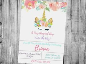 Unicorn theme Invitation Personalized, Custom, You Print birthday or baby shower