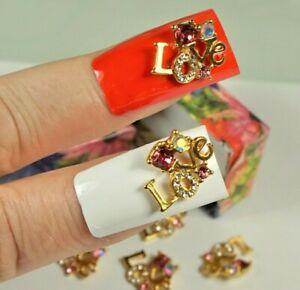 BIG LOVE GOLD METAL CHARMS SWAROVSKI NAIL STUDS 3D NAIL ART SMALL GIFT FOR WOMEN