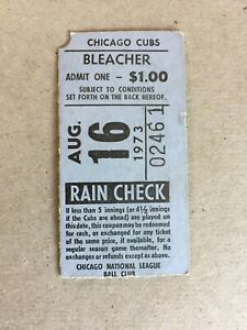 1973 TICKET STUB WRIGLEY FIELD BLEACHERS 8/16/73  BRAVES @ CUBS  AARON HR #702