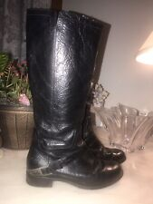 UGG Women's Channing II Riding Boots Black Leather Metal Stirrup Side Zip 7M