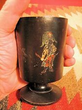 "VTG FOLK ART 4 1/4"" T FRENCH TREENWARE CUP GOBLET HAND PAINTED NAPOLEON & MORE"