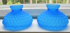"""Pair of Fenton Frosted Blue Quilted Glass Lamp Shades - 10"""" base"""
