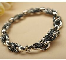 """New Classic S925 Silver Bracelet Man's 8*15mm Dragon Head Lucky Link Chain 7.5""""L"""