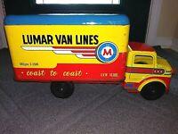Vintage Marx Toys Lumar Van Lines Coast 2 Coast Moving Van Truck Pressed Steel