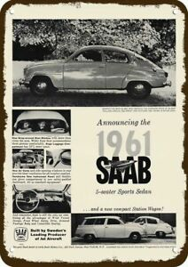 1961 SAAB CAR & COMPACT STATION WAGON CAR Vintage-Look DECORATIVE METAL SIGN