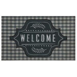 "Farmhouse Gingham Welcome Mat, Doormat, 18"" x 30"""