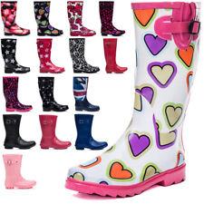 New Ladies Womens Knee High Calf Flat Festival Welly Wellies Rain Boots Sz 3-8