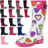New Ladies Womens Knee High Calf Flat Festival Welly Wellies Rain Boots