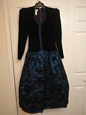 Vtg 80s Black Velvet Blue Pouf Sleeve Floral Prom/Party Dress Scott McClintock 8