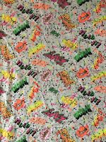 "Vintage Neon Action Words Splatter Print Jersey Fabric Remnant 56""x40"""