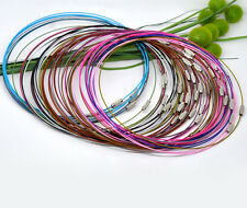 "10 Memory Wire Chokers Mixed Colours 18"" Necklaces Chains Wire J12601M"