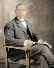 """BOOKER T WASHINGTON AFRICAN AMERICAN AUTHOR LEADER 8x10"""" HAND COLOR TINTED PHOTO"""