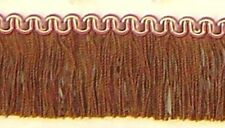 "1.75"" Cut Brush Fringe Brown Gold Fuchsia match Bullion Fringe Gimp Beaded"